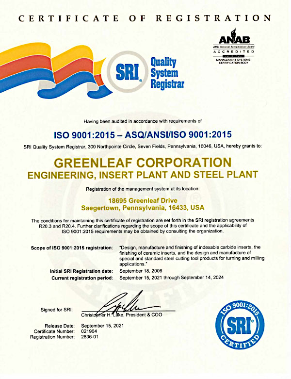 Greenleaf Corporation ISO 9001 Certificate
